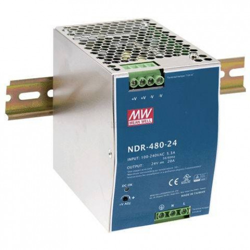 Voeding voor DIN-RAIL Meanwell 24V 480W