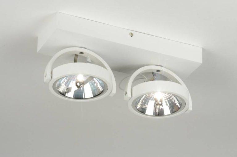 Plafond lamp 2x ar111 mat wit